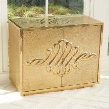 Scroll Two-Door Cabinet-Brass
