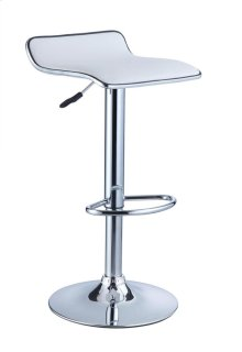 White Faux Leather / Chrome Thin Seat Adjustable Height Bar Stool - 2 pcs in 1 carton