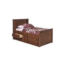 Heartland Twin Bookcase Captain's Bed with Storage with options: Chocolate, Twin