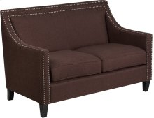 HERCULES Compass Series Transitional Brown Fabric Loveseat with Walnut Legs