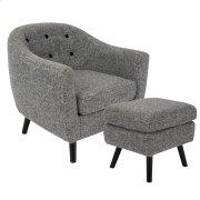 Rockwell Chair + Ottoman Set - Black Wood, Dark Grey Noise Fabric Product Image