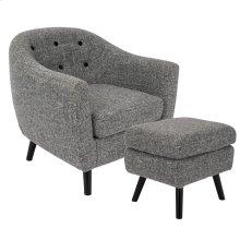 Rockwell Chair + Ottoman Set - Black Wood, Dark Grey Noise Fabric