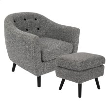 Rockwell Chair + Ottoman Set - Black Wood, Dark Grey Noise Fabric
