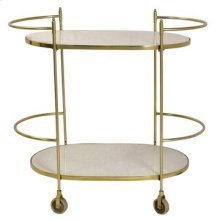 Bengal Manor Antique Gold and White Marble Castered Bar Cart