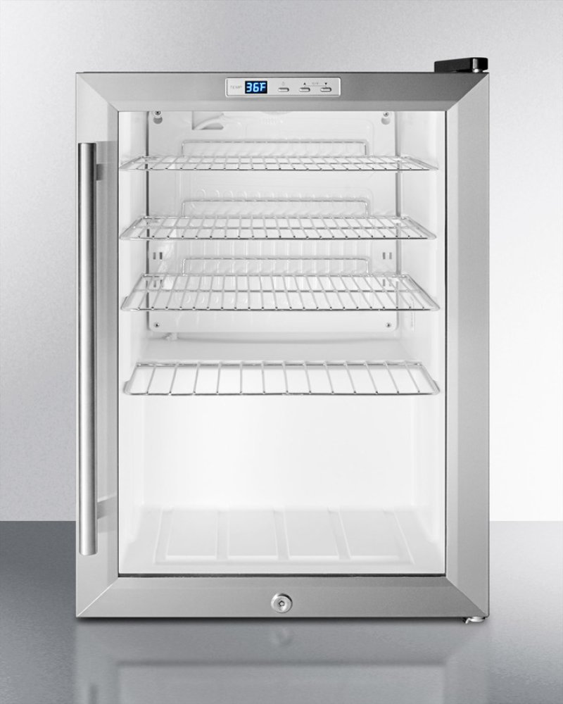Commercially Approved Countertop Beverage Cooler With Glass Door Black Cabinet Front Lock And