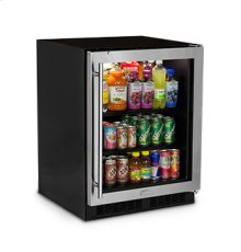 "24"" Low Profile Beverage Center - Stainless Frame Glass Door - Left Hinge"