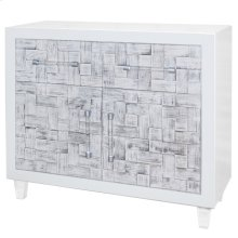Glena Weave Pattern Small Cabinet 1 Drawers + 2 Doors Acrylic Legs, White/Rustic White