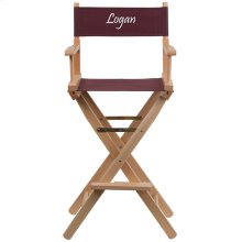 Embroidered Bar Height Directors Chair in Brown