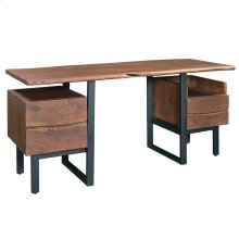 Archie Live-Edge Desk with 2 Open Shelves, 2 Drawers
