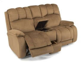 Huron Fabric Power Reclining Loveseat with Console