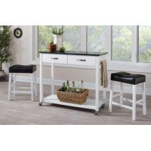 Contemporary White Three-piece Dining Set