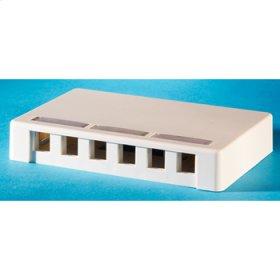 Surface mount box, holds six Keystone jacks or modules