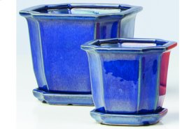 Blue Sucre Petits Pots with Attached Saucer - Set of 2