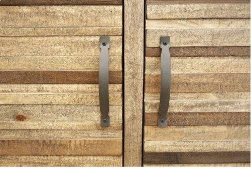 2 Drawer & 4 Doors TV Stand, w/ Iron base