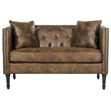 Sarah Tufted Settee With Pillows - Vintage Brown / Espresso