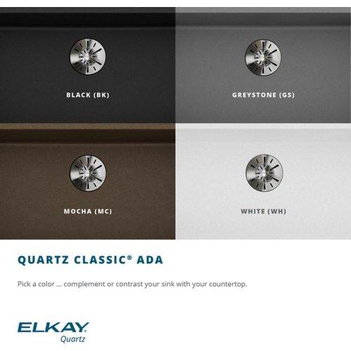 "Elkay Quartz Classic 25"" x 18-1/2"" x 5-1/2"", Undermount ADA Sink with Perfect Drain, Black"