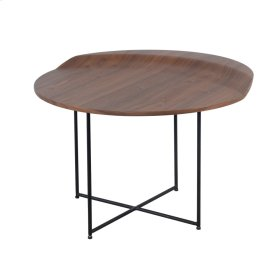 Brandy Round End Table Black Legs, Walnut