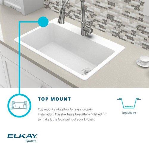 """Elkay Quartz Classic 33"""" x 22"""" x 10"""", Offset 60/40 Double Bowl Drop-in Sink with Aqua Divide"""