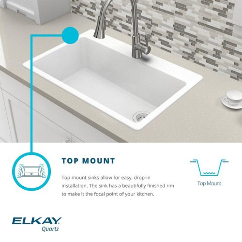 "Elkay Quartz Classic 33"" x 22"" x 9-1/2"", Offset Double Bowl Drop-in Sink"