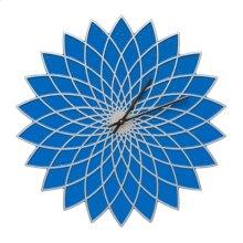 """Lotus 16"""" Indoor Outdoor Wall Clock - Dark Blue/Silver"""