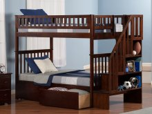 Woodland Staircase Bunk Bed Twin over Twin with Urban Bed Drawers in Walnut