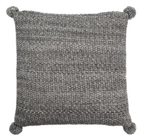 POM POM KNIT PILLOW - Dark Grey / Natural