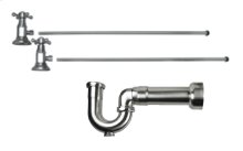 """Lavatory Supply Kit w/ Massachusetts P-Trap - Angle - Deluxe Cross Handle - 1/2"""" Compression (5/8"""" O.D.) Inlet x 3/8"""" O.D. Compression Outlet - Antique Brass"""