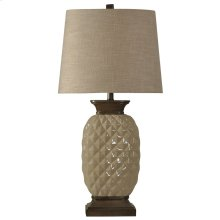 Ceramic Table Lamp in Dazzle Finish Natural Linen Shade