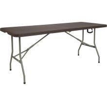 29''W x 71''L Bi-Fold Brown Rattan Plastic Folding Table [DAD-FT-180Z-GG