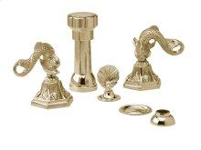 Four Hole Bidet Set Dolphin Lever Handles - Polished Brass