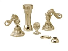 Four Hole Bidet Set Dolphin Lever Handles - Polished Brass