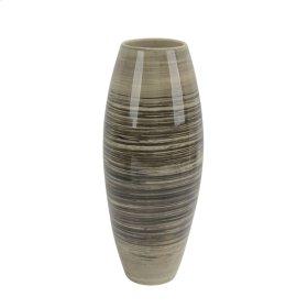 """Ceramic Vase 16"""", Black/beige"""