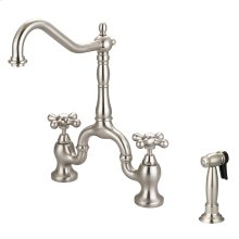Carlton Kitchen Bridge Faucet with Metal Button Cross Handles - Brushed Nickel