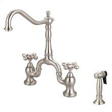 Carlton Kitchen Bridge Faucet with Metal Button Cross Handles - Brushed Nickel