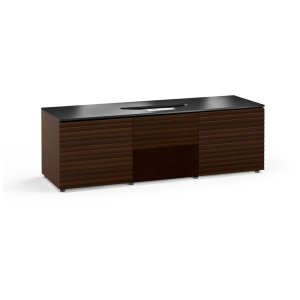Salamander DesignsThe sleek, streamlined design features a horizontal pattern on opium brown wood with a black glass or solid surface top and wood block feet.