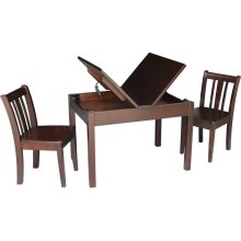 Mission Lift Top Storage Table and Chairs in Rich Mocha