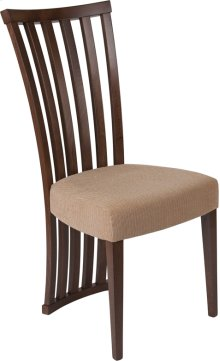 Medford Walnut Finish Wood Dining Chair with Dramatic Rail Back and Ultra-Padded Brown Fabric Seat