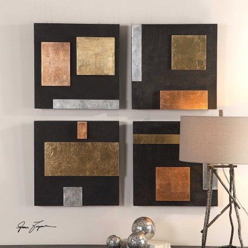 Mixed Metals Wood Wall Decor, S/4