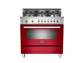 36 6-Burner, Gas Oven Red