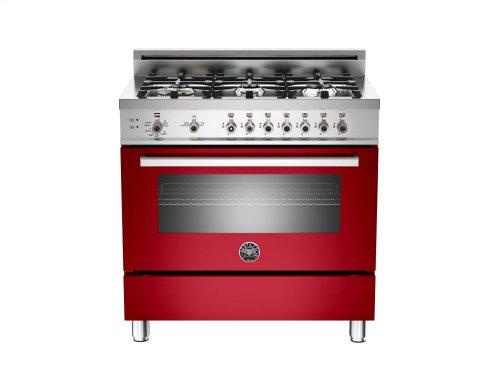 36 6-Burner, Gas Oven Red