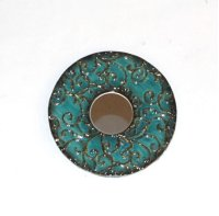"""Round Blue Embossed Metal Frame Mirror- 12""""""""D Product Image"""