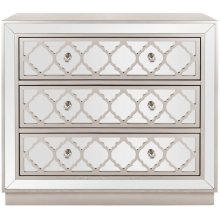 Amelia 3 Drawer Chest - Champagne / Nickel / Mirror