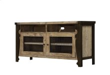 Entertainment TV Console-natural Reclaimed Pine Finish W/black Metal Legs