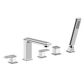 """Five-hole roman tub set Separate Hot/Cold Spout - Projection 8-1/8"""" Diverter Hand shower 59"""" flex hose Hand shower max flow rate 2.0 GPM Spout max flow rate 8.1 GPM at 43 PSI"""
