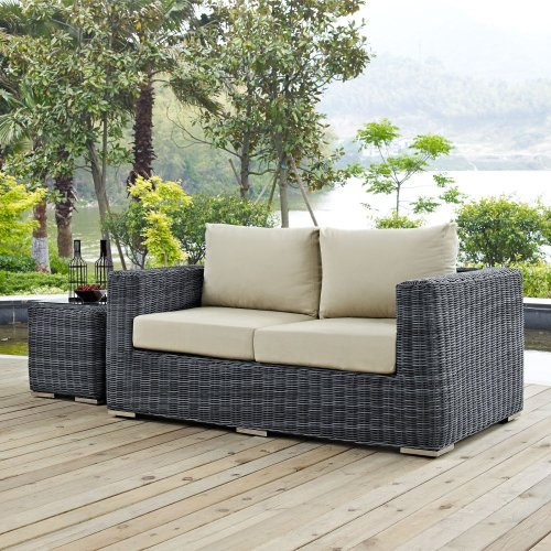 Summon Outdoor Patio Sunbrella® Loveseat in Canvas Antique Beige