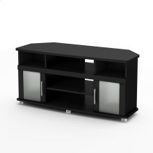 Corner TV Stand - Fits TVs Up to 50'' Wide - Pure Black