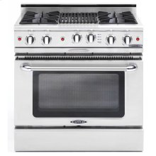 "36"" Gas Self Clean Range, Rotisserie, 4 Open Burners, 12"" Briol Burner"