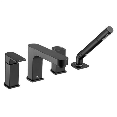 Equility Water Saving Deck Mount Bathtub Faucet with Hand Shower - Matte Black