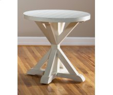 Topsail Plank Round End Table Seashell