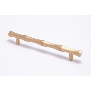 """3/4"""" diameter Bamboo pull 9 1/2"""" center to center thru bolt - Satin Brass"""